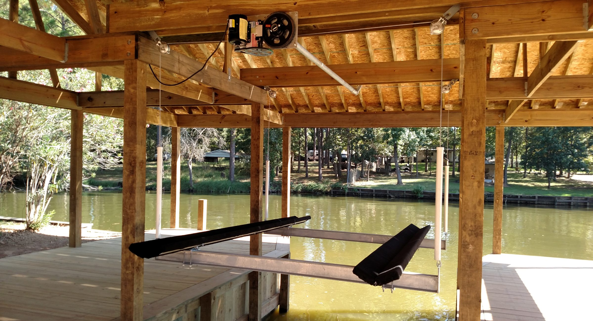 Boat house construction lift with cradle on lake Houston Crosby, t x