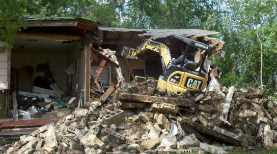 During house pad demolition