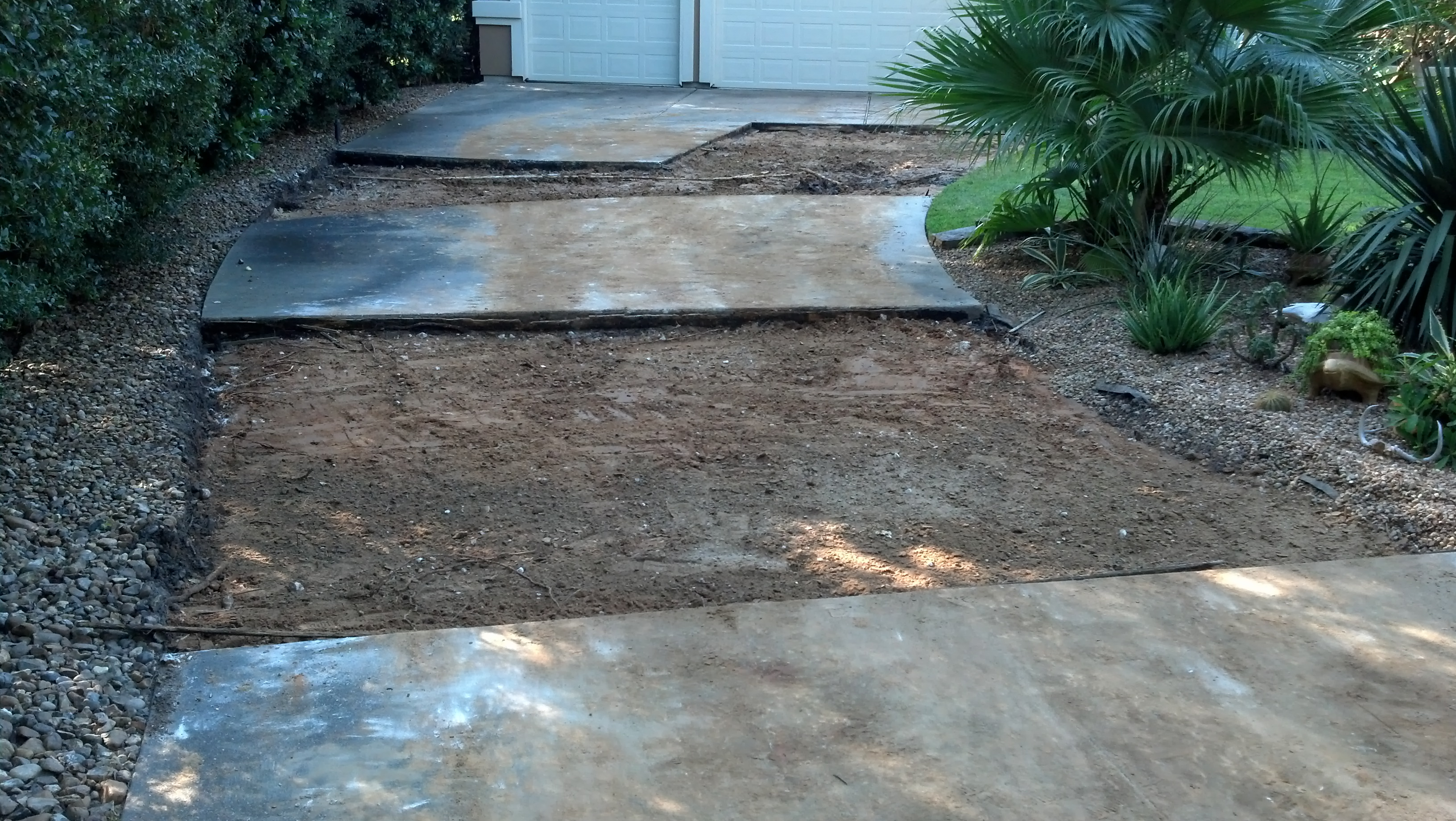 concrete driveway sections demoed