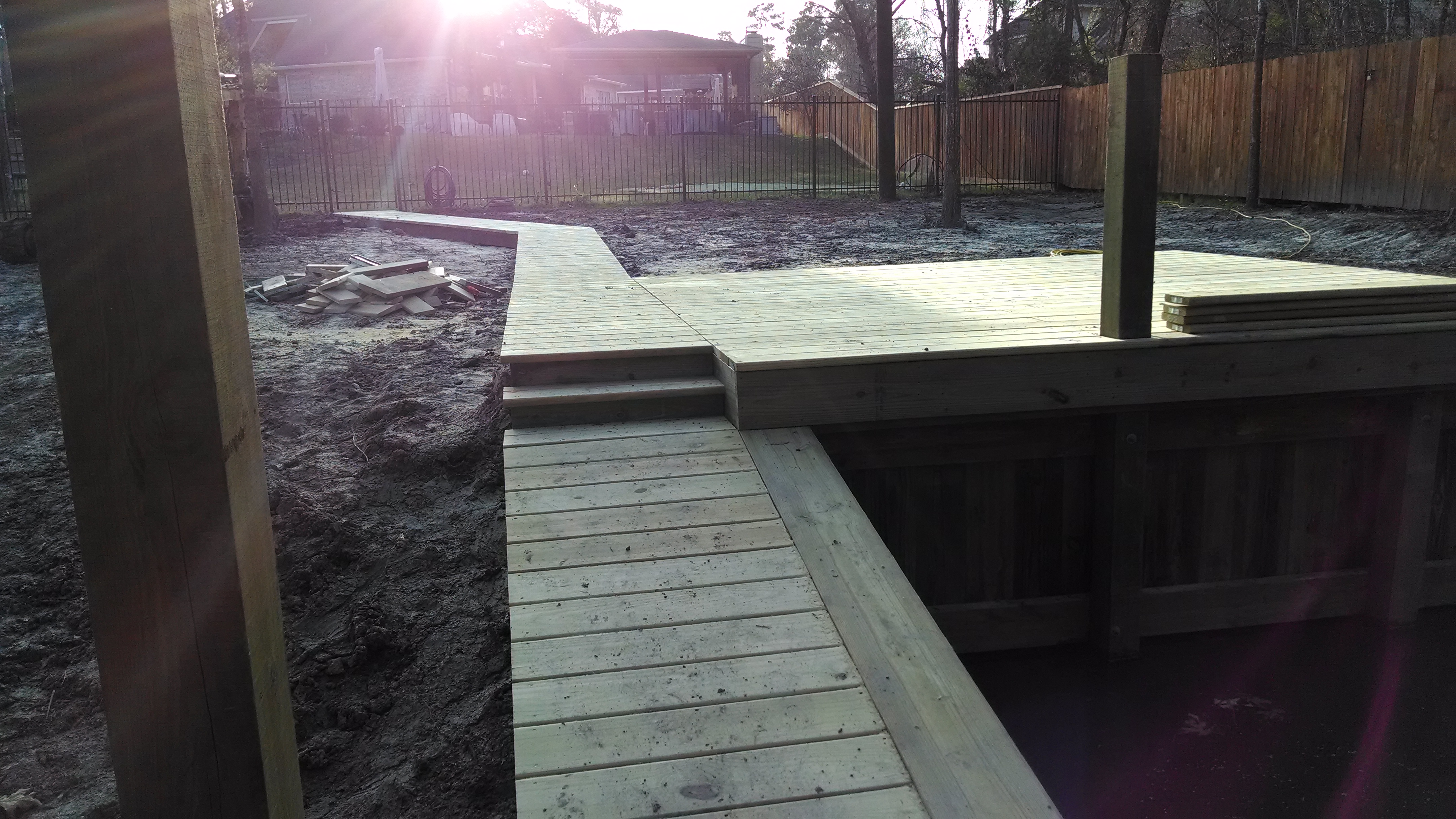Deck dock and walkway construction on lake houston