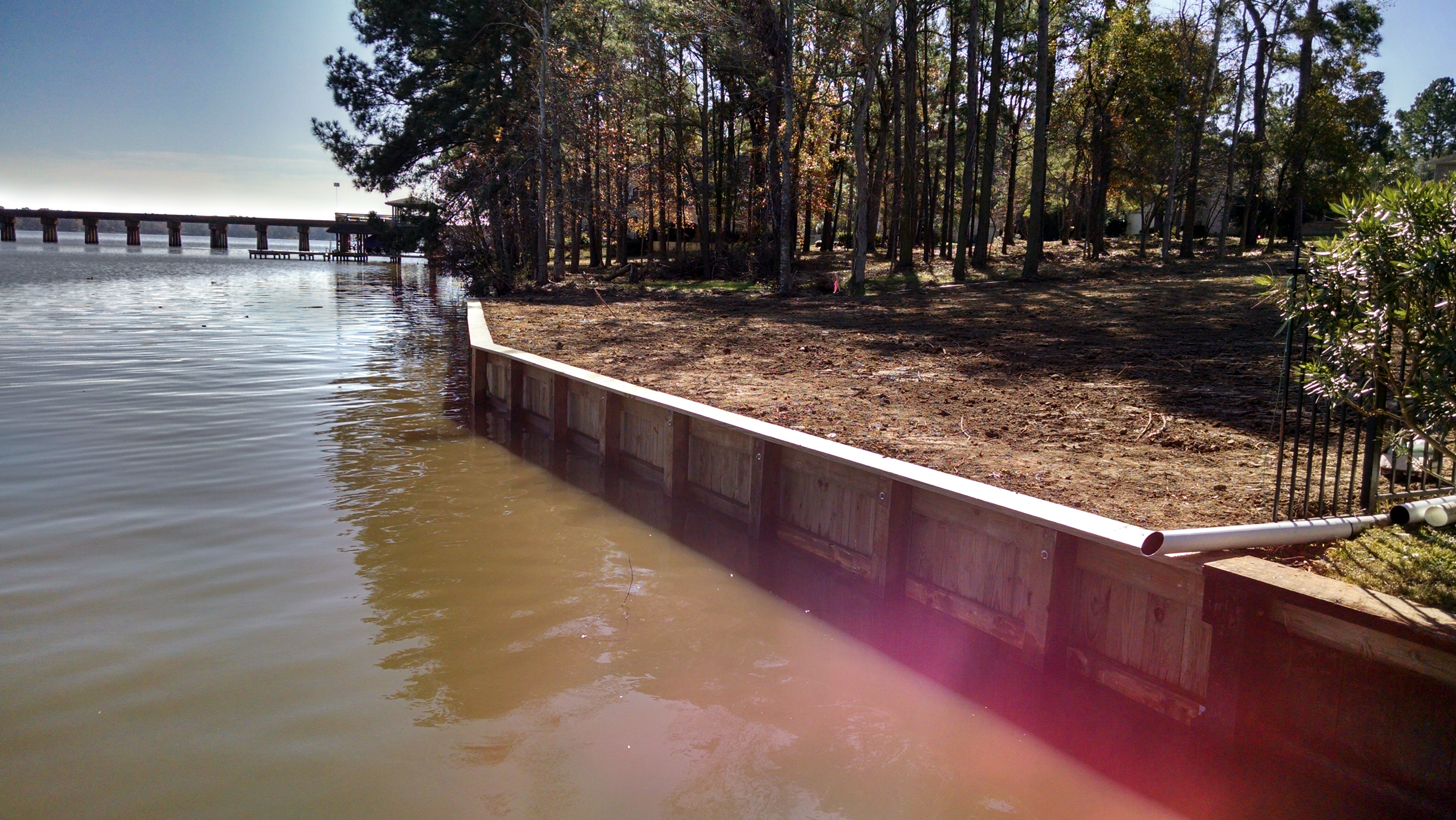After bulkhead construction replacement at the walden on lake houston