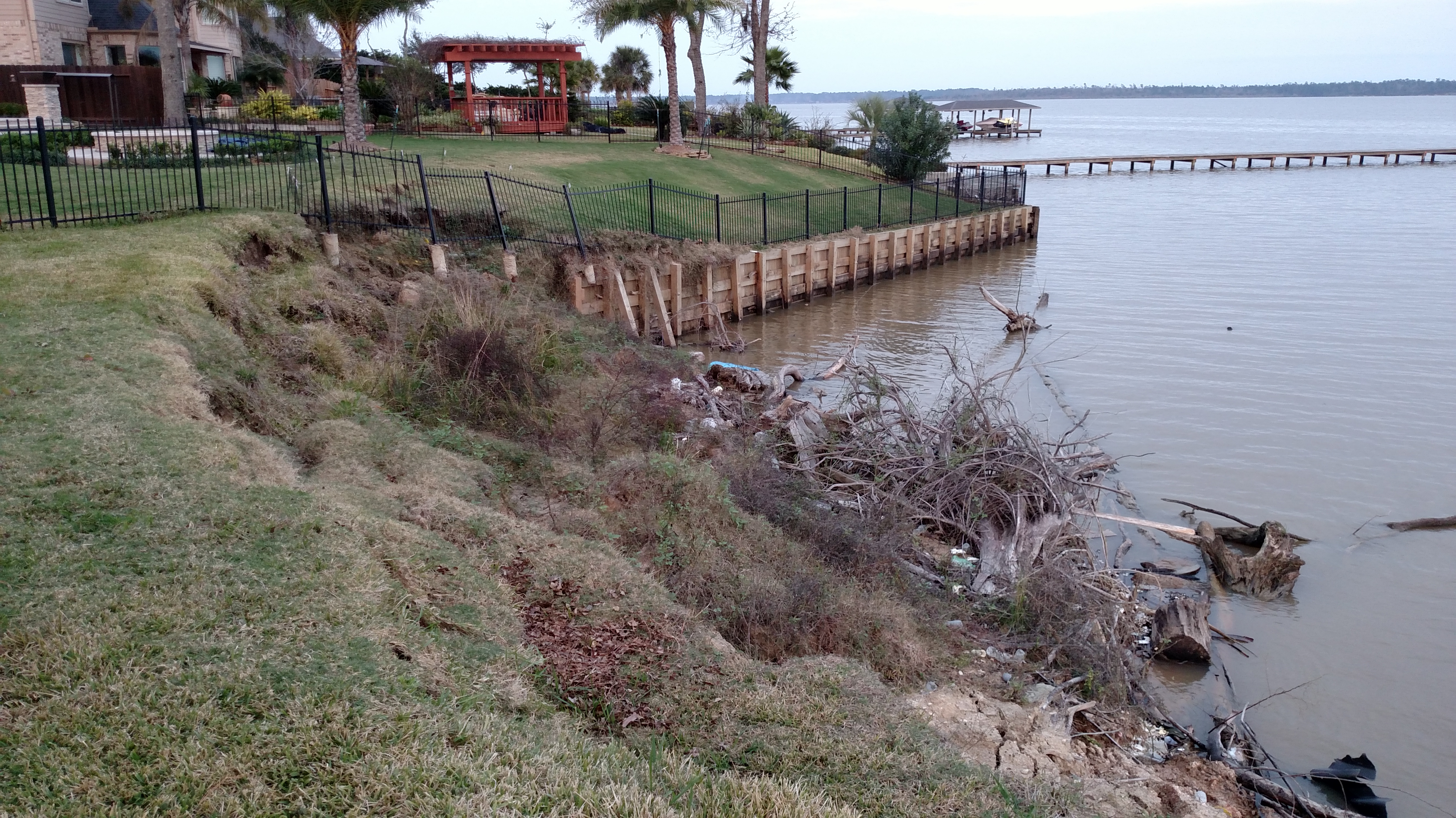 before new bulkhead construction on lake houston in lakeview